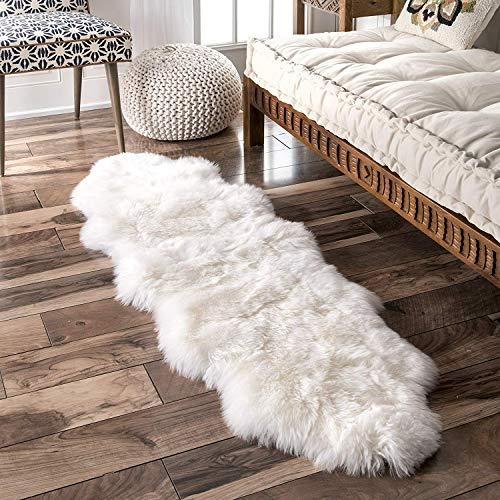 Natürliche Wolle Teppich (CX Rein Weiß Natürlich Schaffell Sofa-Pads Original Australien Lammfell Sessel Bedside Abdeckung Sitzmatten Flauschige Weich Wolle Pelz Polster,65x200cm(26x79inch))