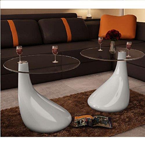 Lingjiushopping Lot de 2 Tables Basses de Salon en Verre avec Blanche Brillante Plateau de Table : Verre de securite d'uneepaisseur de 8 mm Structure en Fibre de Verre blanchebrillante