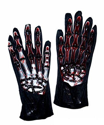 (Faschingsfete Halloween Kostüm- Horror Handschuhe mit Skelett Print - Knochen Blut Optik Erwachsene, Mehrfarbig)