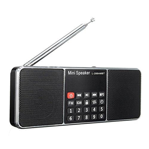 AM/FM Radio, ELEGIANT Mini Tragbare Digital Lautsprecher Stereo Audio Musik Empfänger UKW Radio Bluetooth V2.1+EDR Lautsprecher Speaker Boombox LED Anzeige Tragbare Multifunktions Drahtlose Wecker Lautsprecher Systeme mit eingebautem Mikrofon Teleskopantenne 3,5 mm Kopfhörer Anschluss AUX-Anschluss USB-Anschluss,Home Stereo Lautsprecher Kopfhörer Auto Musik Sound für Camping, Wandern, zu Hause oder im Garten