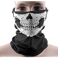 DAYAN Halloween Cranio Tubolare Protettivo Polvere Maschera Bandana Moto Sciarpa Poliestere Viso Collo Scaldino Colore nero