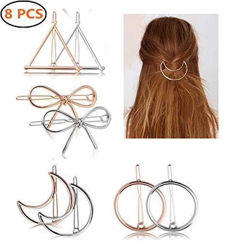 Metall Haarclips, 8 Stück Haarspangen von Verschiedene Formen: Dreieck+Schleife+Kreis+Mond Haarnadeln, Haarspangen, Haar Zubehör für Frauen und Mädchen