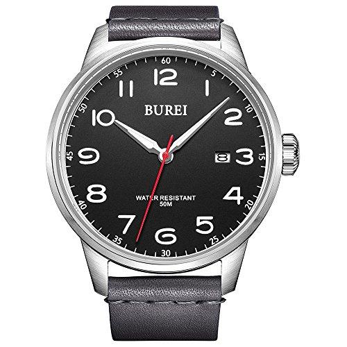 BUREI da uomo donna elegante orologio al quarzo grandi numeri arabi display...