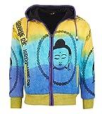 Goa Om Buddha Batik Strickjacke Jacke Zipfelkapuze Hippie mit Fleecefutter, Größe/Size:M
