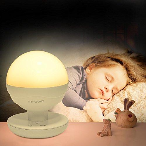 Nachtlicht Kinder, ATPWONZ LED Nachtlampe, Helligkeit Dimmbar, Warmweiß oder Weiß Farbwechsel, Schlummerleuchte Stimmungslicht für Kinder / Tischdeko / Camping Laterne