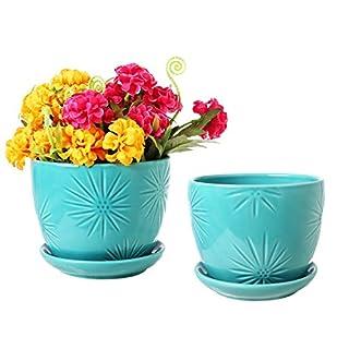 Aqua Sunburst Design Ceramic Flower Planter Pots, Decorative Plant Containers with Saucers, Set of 2