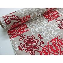 Confección Saymi - Metraje 0,50 mts. tejido loneta estampada Ref. Damasco Rojo, con ancho 2,80 mts.