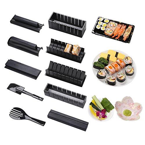 Sushi Maker Kit, 10 piezas completo juego de utensilios para hacer Sushi en casa DIY fácil Chef Set rollo de papel de arroz molde molde