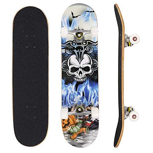 fiugsed Skateboard Komplettboard Mit ABEC-9 Kugellager Und 9-Lagigem Ahornholz 95A Rollenhärte Funboard FÜR Anfänger Und Profis - Belastung 100 KG (Toten Kopf)