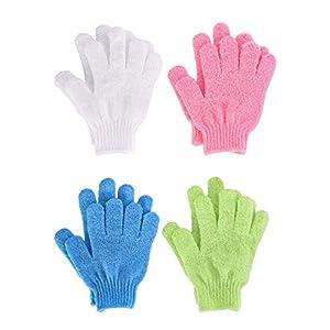 Peeling Handschuhe – YeeStone 4 Paar Body Scrubbing Handschuh Dusche Handschuh Badehandschuhe Doppelseitige aus Nylon – für Männer Frauen Kinder (4 Farben)