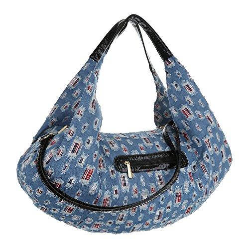 Damen Shopper Damen Schultertasche Tragetasche Handtasche Schwarz Blau Modell Nr1 Blau