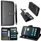 für Alcatel Onetouch Pixi 4 (6,0 Zoll) 3G Hülle, Kamal Star® PU Leder Flip Case Schutzhülle + Stylus (Plain Black Book)