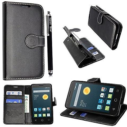 Kamal Star® Alcatel Pixi 3 Various phones PU Leather Wallet Flip Case Cover+Stylus (Pixi 3 (4.5'' inch), Black