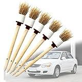 5pcs Détails Brosse de cheveux naturels Premium de voiture détail brosses Parfait pour moteur de nettoyage de roue Intérieur Extérieur Cuir Grille d'aération de tableau de bord Emblème de moto