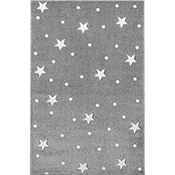 silver grey 100 cm round 100/% polypropylene comb yarn Livone Nursery Rug for Childs Bedroom with Stars Dots in Silver Grey Blue