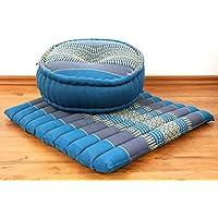 Preisvergleich für Asia Wohnstudio Yogaset/Meditationsset der Marke 1 x Zafukissen (Yogakissen) + 1 x Sitzkissen (Meditationskissen) mit reiner Kapokfüllung, Günstiges Set