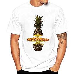 Camisetas Blancas Hombre Manga Corto LHWY, Camisetas Talla Grande De Cuello Redondo con Estampado De PiñA Suelto Casuales Verano (M)