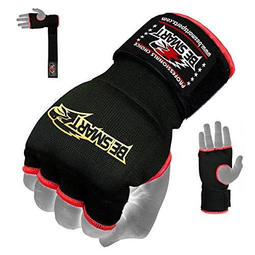 Boxen Gel-Handschuhe, Handwraps Fist Polsterbinden MMA Thai Muay Training Kick Kostenlose Lieferung UK schwarz schwarz S (Womens Boxing Handschuhe Und Wraps)