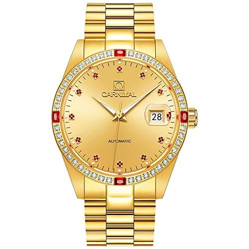 sbdongjx luxury golden business men watch top automatic watch men complete calendar waterproof luminous mechanical watches