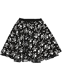 "MP Skull & Cross Bones Gothic Skulls Traditional Tattoo 15"" Skater Skirts"