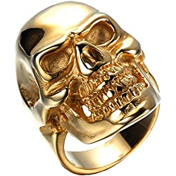 HAMANY Los anillos de acero inoxidable Cráneo gótico del oro de la vendimia del motorista,El Tamaño22