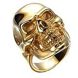 HAMANY Los anillos de acero inoxidable Cráneo gótico del oro de la vendimia del motorista,El...