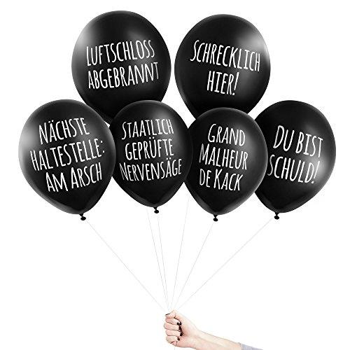 Pechkeks Anti-Party-Ballons, schwarze Luftballons mit schrägen Sprüchen, Universal 1-Set, schwarz