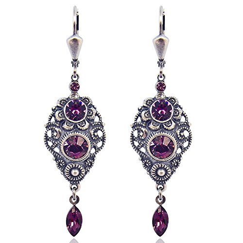 Jugendstil Ohrringe mit Kristallen von Swarovski® Silber Rot Amethyst NOBEL SCHMUCK