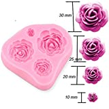 HENGSONG Rose Flower Silicone Mould Cake Topper Decoration Fondant Fimo Chocolate Mold