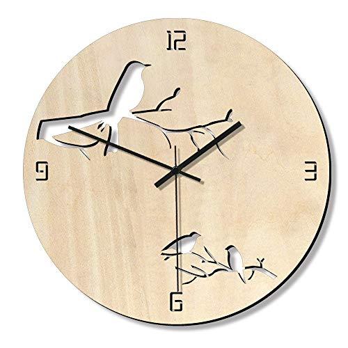 Ausschnitt Sweep (Liergou-JJ Küchenwanduhr Wanduhr-Vogel-Ausschnitt-Muster, das Nicht batteriebetriebenes Innenministerium-Uhr-Dekor tickt (Farbe : Wood Color, Größe : 28cm))
