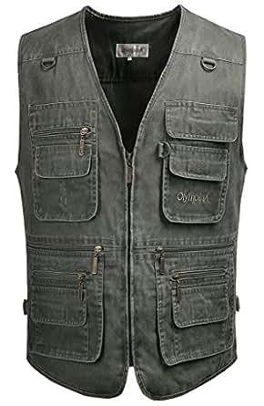 Kaily Herren Frühling Freizeit Multi-Tasche Jeans Weste Jacke(Armee Grün2,EU M(Asien XL))