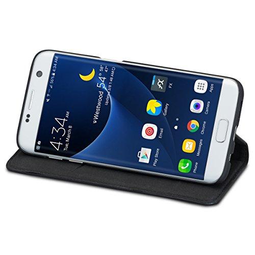 """iPhone 8 Lederhülle / iPhone 7 Lederhülle Leder Case Ledertasche braun - KANVASA """"Pro"""" Luxus Echtleder Hülle Tasche Flip Cover für das Original Apple iPhone 8 & 7 (4.7 Zoll) - Mit Magnetverschluss Schwarz Galaxy S7 Edge"""