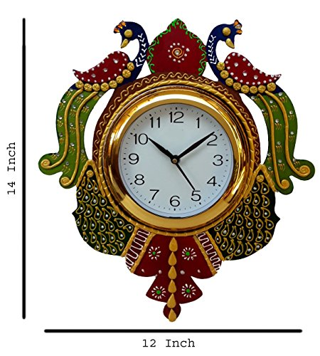 Divine Crafts Peacock Papier Mache Wall Clock (Multicolor)