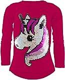 Unicorn Einhorn Mädchen Langarm Baumwolle Wendepailletten T-Shirt Bluse Long Shirt Pullover Pulli (Pink, 152-158)