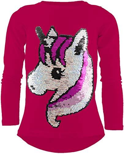 Camiseta de Manga Larga de algodón con Lentejuelas, diseño de Unicornio, para niña - Rosa - 152/158 cm