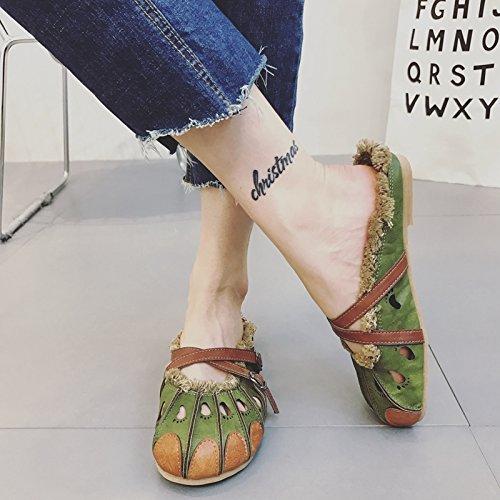 Angrousobiu vento nazionale cancella colore cuoio arti retrò base piana calzature artigianali, casual cool pantofole estate ragazze, indossando il verde,36,