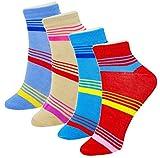 Neska Moda 4 Pair Women's Cotton Striped Ankle Length Socks-Multicolor