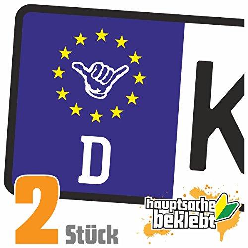 Hängen Locker (Hang loose - Alles locker - Shaka Kennzeichen Aufkleber Sticker Nummernschild - IN 15 FARBEN)