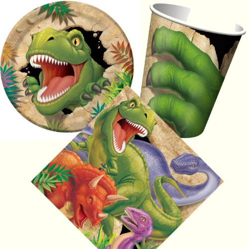 Carpeta 32-teiliges Party-Set DINOSAURIER / T-REX mit Teller + Becher + Servietten + Deko | Kindergeburtstag Kinder Geburtstag Party Mottoparty Motto Dino Dinos Dinosaur