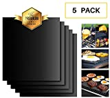 BBQ GRILL MAT AND OVEN LINER Set of 5 Large - EASY CLEAN Grilling Sheets, Non Stick, REUSABLE Cooking Mats - Barbecue Grilled Meats, Eggs and Vegetables - Heat Resistant, Durable, Perfect for Gas, Charcoal, Oven and Electric Grills - FDA Certified