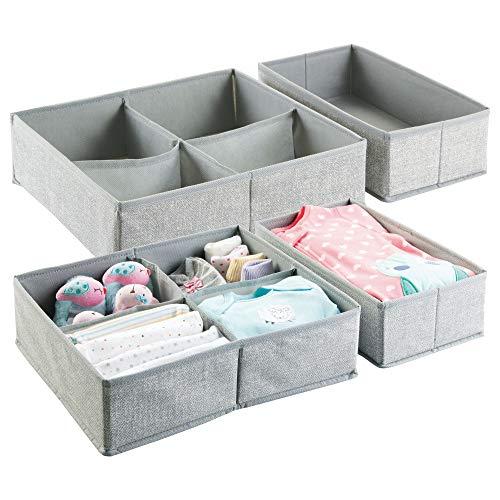 mDesign Organizador para armarios (juego de 4) – Cajas de plástico para ropa, cosméticos, pañales, pañuelos, lociones o medicamentos – Separador de cajones de color gris