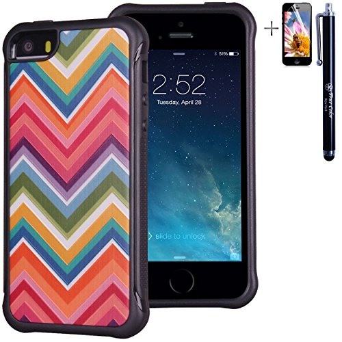 iPhone 5 5S case, True Color® rilievo stampato resistente agli urti TPU protettiva antiscivolo grip snap-on morbido robusto cover per iPhone 5 5S [True Impact Series] + pennino e pellicola protettiva  Colorful Rainbow Chevron