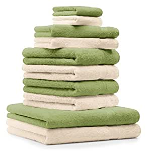 10 tlg. Handtuch Set Premium Farbe Beige & Apfel Grün 100% Baumwolle 2 Duschtücher 4 Handtücher 2 Gästetücher 2 Waschhandschuhe