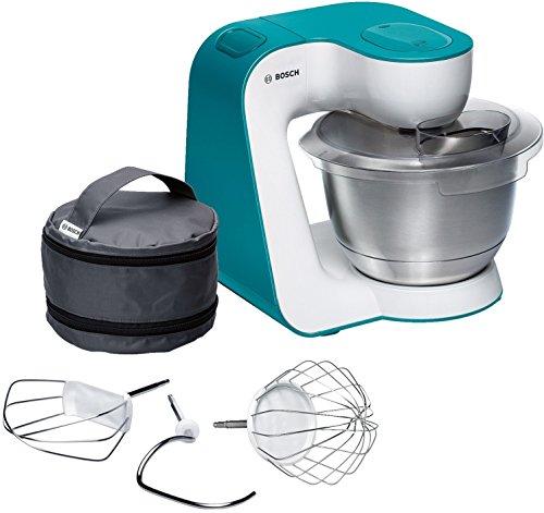 Bosch MUM5 StartLine Küchenmaschine MUM54D00, vielseitig einsetzbar, große Edelstahl-Schüssel (3,9l), Patisserie-Set aus Edelstahl, spülmaschinenfest, 900 W, weiß/türkis