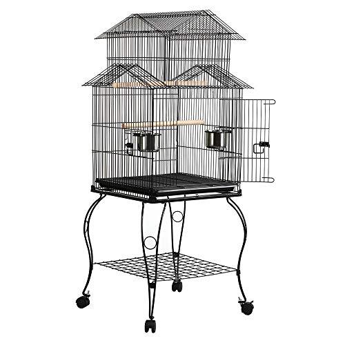 Yaheetech Vogelkäfig Wellensittlichkäfig Sittichkäfig mit Ständer Vogelvoliere 59 x 59 x 139,5 cm Käfig Vogelhaus ideal in 3 Form aufbauen