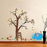 Bande Dessinée Style Indien Animaux Arbre Stickers Muraux pour Kindergaten Enfants chambre Chambre Mur Décor Art Mural pour DIY