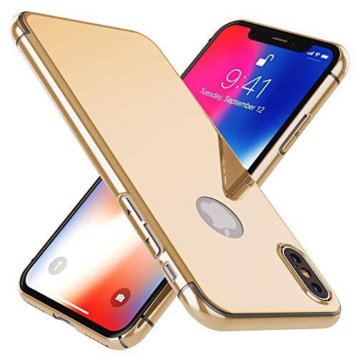 NALIA Spiegel Hülle kompatibel mit iPhone X XS, Handyhülle Dünne Schutz-Hülle mit reflektierendem Back-Cover, Ultra-Slim Bumper Hard-Case Phone Etui Handy-Tasche, Farbe:Gold Spiegel Iphone