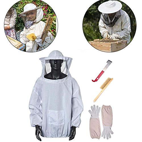 CPPK Imkerei Jacke Fechten Schleier - Absoluter Schutz für Profis und Anfänger Imker, inklusive 1 Top, 1 Bienenfeger, 1 Sets Handschuhe, 1 J-Typ Schaber, 3 Bienenfänger