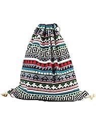 Laat - Bolsa de tela con cordones, diseño estampado, ideal como bolsa de viaje o mochila para adolescentes y estudiantes