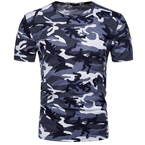 Holeider Männer Casual Camouflage T-Shirt Top Bluse O Hals Pullover Drucken Sommer 2018 (XL, Blau) (Steigbügel-shirt Bleibt)